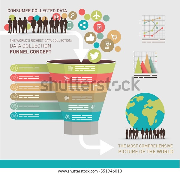 Data Collection Concept Symbolized Funnel Stock Vector (Royalty Free