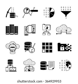 Data collection data processing and information storage black icons set isolated vector illustration