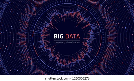 Data complexity visual representation. Big data visualization. Graphic abstract background. Eps10