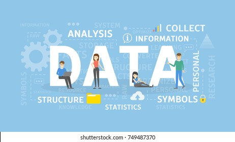 Data concept illustration. Idea of collecting, analysing and using.