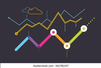 Data dashboard. Growing graph on a dark background