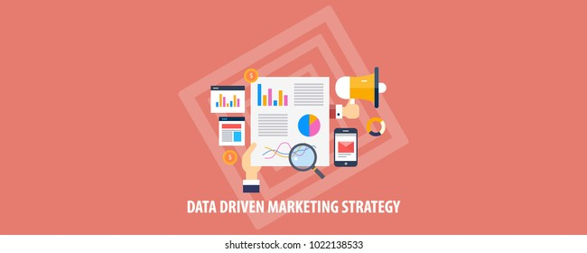 Data driven marketing, Data analysis flat vector illustration concept with icons