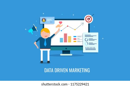 Data driven marketing, marketing data analysis, man using web data for business flat design concept with icons