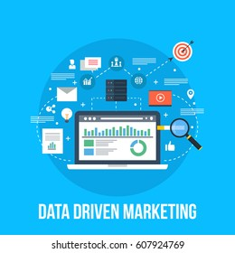 Data driven marketing, Business analytics flat vector concept with icons