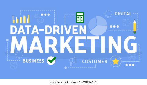 Data driven marketing concept. Idea of search optimization and advertising. Business development, promotion in social media. Isolated flat vector illustration