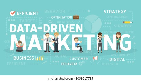 Data driven marketing concept illustration. Idea of strategy and business.