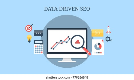 Data driven SEO, Search analysis, Search engine optimization, Audit flat vector banner illustration with icons