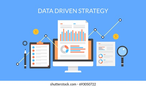 Data driven strategy for marketing, lead generation, revenue increase, business development and growth flat vector illustration isolated on blue background
