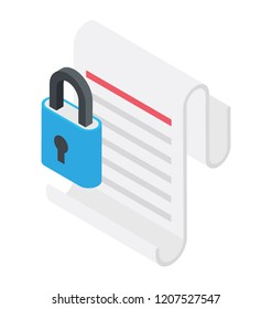 Data encryption concept via padlock over webpage