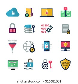 Data encryption and information protection technology icons isolated vector illustration