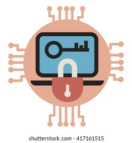 Data encryption and protection. Vector illustrarion