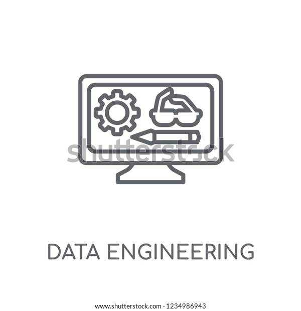 Data Engineering Linear Icon Modern Outline Stock Vector