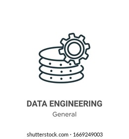 Data engineering outline vector icon. Thin line black data engineering icon, flat vector simple element illustration from editable general concept isolated stroke on white background