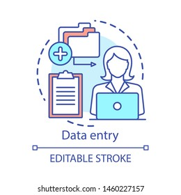 Data entry concept icon. Typist, transcriber, clerk idea thin line illustration. Part-time employment, freelance. Secretary, personal assistant. Vector isolated outline drawing. Editable stroke