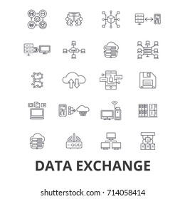 Data exchange, internet, transfer, connection,technology,synchronization line icons. Editable strokes. Flat design vector illustration symbol concept. Linear isolated signs