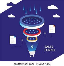 Data Filter. Business infographics template. Analytics sales funnel.
