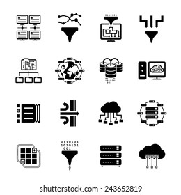 Data filter and data transfer icons. Moving and filtering information in the database. Vector illustration