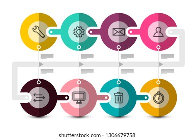 Data Flow Concept with Icons. Timeline Technology Infographic Vector Template.