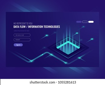 Data flow concept, information technologies, concept of hi tech isometric vector ultraviolet