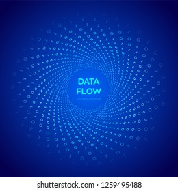 Data Flow. Digital Code. Binary data flow. Virtual tunnel warp. Coding, programming or hacking concept. Computer science illustration with 1 and 0 symbols repetitions. Vector Illustration.