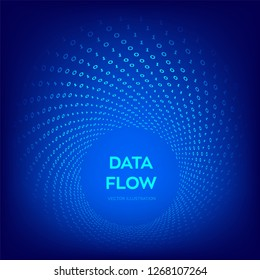 Data Flow. Digital Code. Binary data flow. Big data. Virtual tunnel warp. Coding, programming or hacking concept. Computer science illustration with 1 and 0 symbols repetitions. Vector Illustration.
