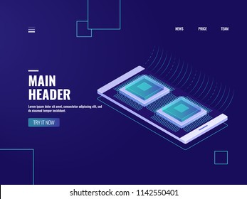 Data flow processing, mobile phone device data encryprion, ai artificial intellegence, microchip, server room and database server room, vector neon dark