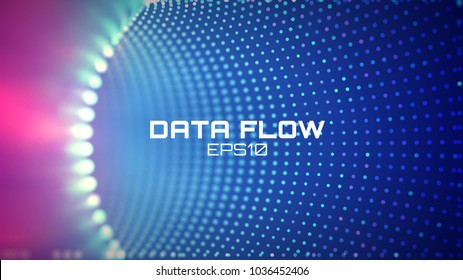 Data flow tunnel. Geometric round background
