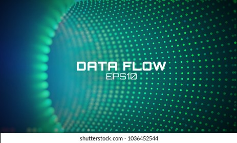 Data flow tunnel. Geometric round background. Coding development abstact