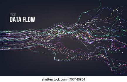 Data flow vector illustration. Digital information noise stream. Blockchain structure calculation