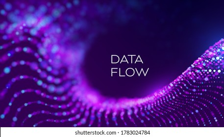 Data flow wave in abstract style on purple background. Multithreading technology vector. Bigdata twisting innovation background