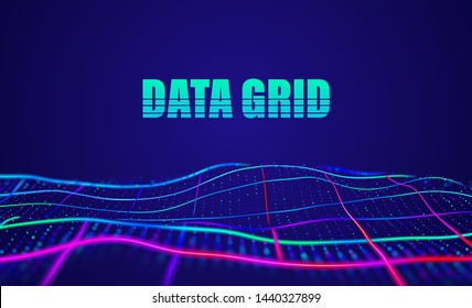 Data grid abstract vector background. Virtual space wireframe