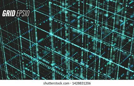 Data grid. Bigdata blueprint Cyber futurist science background. Cloud information