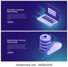 Data guarding, authorization form, password and login input, registration page, cloud data storage, web hosting, isometric server vector illustration on ultraviolet background