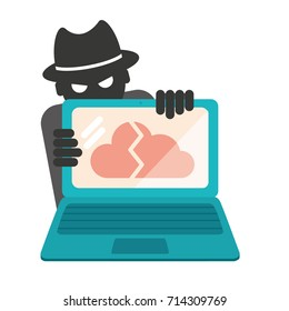 Data Hacker Flat Vector Illustration