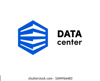 Data or hosting server logo. Vector database hexagonal icon template for cloud server company. Big data cube icon