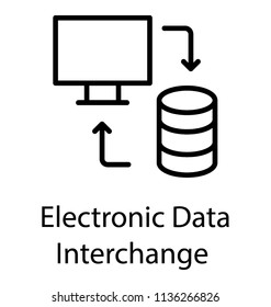 Data house, laptop and two reversing arrows showing process of electronic data interchange icon