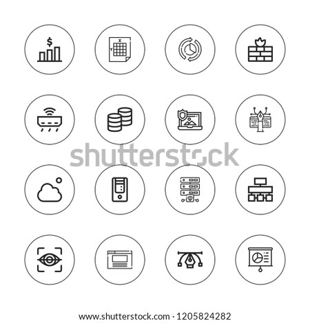 Data Icon Set Collection 16 Outline Stock Vector Royalty Free