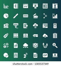 data icon set. Collection of 36 filled data icons included Laptop, Gif, Jpeg, Antenna, Hard disk, Pie chart, Research, Cable, Data sharing, Analytics, Exchange, Report, Cloud storage