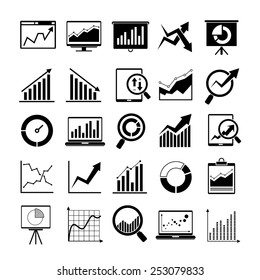 data icons, graph and chart icons
