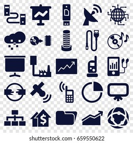 Data icons set. set of 25 data filled icons such as business center building, board, baby monitor phone, structure, disc on fire, mp3 player, disc, line graph, pie chart, wire