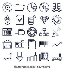Data icons set. set of 25 data outline icons such as structure, disc on fire, cd fire, chart, pie chart, folder, file, memory card, wi-fi, graph, satellite, server, cd