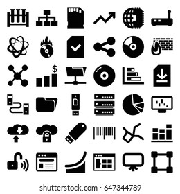 Data icons set. set of 36 data filled icons such as board, structure, browser, flash drive, cd fire, chart, pie chart, file, memory card, opened security lock, graph, cd