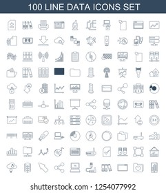data icons. Trendy 100 data icons. Contain icons such as graph on display, folder with heart, browser window, binder, phone connection cable, laptop. data icon for web and mobile.