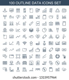 data icons. Trendy 100 data icons. Contain icons such as cloud download upload, chart, memory card, CD, barcode, graph, binder, test tube, phone connection cable. data icon for web and mobile.