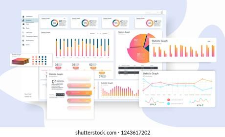 Data Infographic Application UI, UX, KIT. Creative infographic. Vector illustration
