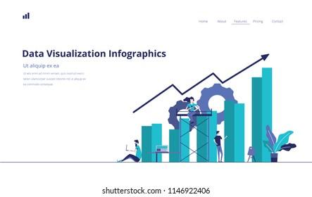 Data Infographics Landing Page Vector Illustration