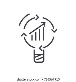 data insight, idea vector line icon, sign, illustration on background, editable strokes