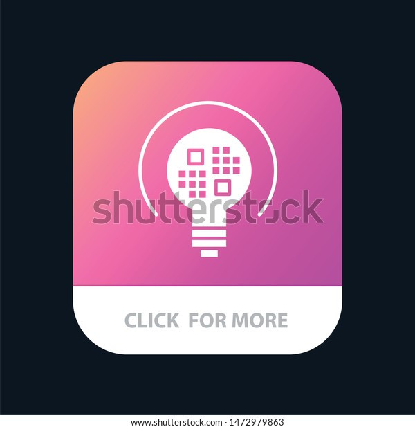 Data, Insight, Light, Bulb Mobile App Button. Android and IOS Glyph Version