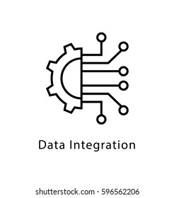 Data Integration Vector Line Icon