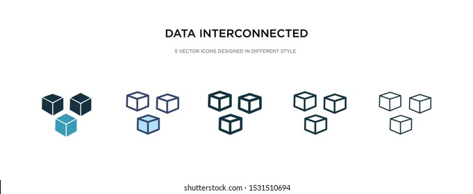 data interconnected icon in different style vector illustration. two colored and black data interconnected vector icons designed in filled, outline, line and stroke style can be used for web,